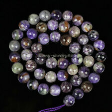 Natural Charoite Stone Round Loose Gemstone Beads 6mm 8mm 10mm 12mm 15.5""