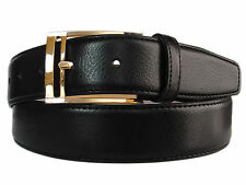 New Men's Marco Valentino Italy Dressy Black Genuine Leather Belt Gold Buckle