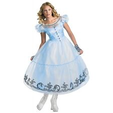 Deluxe Alice In Wonderland Adult Womens Sexy Long Dress Disney Halloween Costume