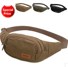Mens Canvas Sport Bum Bag Casual Fanny Pack Waist Bags Hiking Belt Bag Hip Purse