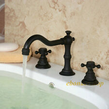 Solid Brass Two Handle Widespread Bathroom Sink Faucet, Oil Rubbed Bronze