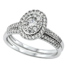 Sterling Silver Oval Cluster CZ Halo Setting Two Piece Wedding Ring Set RC205