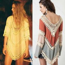 BOHO HIPPY CROCHET FESTIVAL BLOUSE BEACH TOPs SHIRT LADIES COVERUP KNIT BOHEMIAN