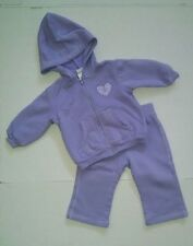 EUC Okie Dokie 2 Piece Outfit Sweatsuit Girl Size 12 Months Purple Heart