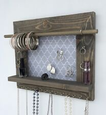 Hanging Jewelry Organizer Barn Wood Wall Display Holder Necklace Earring