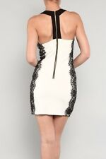 Fitted Short Stretchy Cocktail Sexy Pensil Party White Black Lace Zipper Dress