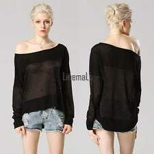 Sexy Womens Long Sleeve Off Shoulder Asymmetric T-Shirt Blouse Shirt Tops LM