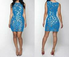 NEW WOMENS CLUBWEAR BLUE SLEEVELESS FLORAL LACE MINI SEXY DRESS--M,L 706