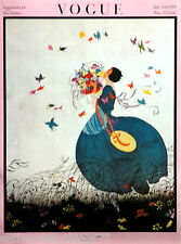 VOGUE Poster ART DECO Spring Gown BUTTERFLIES Birds Vintage 1975 MATTED Picture