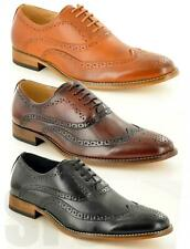 Mens Leather Lined Brogue Formal Lace Up Office Shoes New Casual Smart Shoe Size