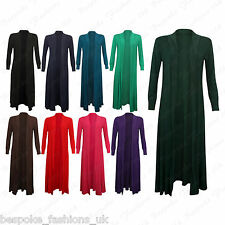 Ladies Women's Long Sleeve Stretchy Summer Open Full Length Cardigan Top 8-14