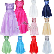 Girls Kids Fancy Princess Dress Toddler Baby Wedding Party Pageant Dresses 4-10Y