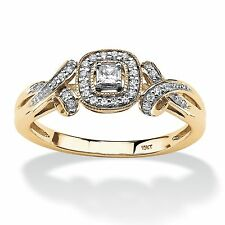 PalmBeach Jewelry 1/7 TCW Diamond Halo and Bow Ring in 10k White Gold
