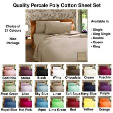 225TC Poly Cotton Sheet Set 21 Colours - Single, King Single,Double, Queen, King