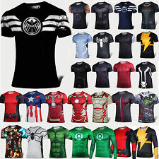 Marvel Men Superhero Stretch T-Shirt Base Layers Sports TEE Tops Cycling Jersey