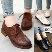 Hot New Womens Vintage Oxfords Formal Dress Lace Up Platform Low Heels Shoes