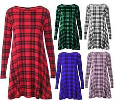 Women Jersey Long Sleeve Dog Tooth Tartan Check Print Swing Dress Plus Size16-26