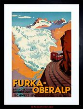 TRAVEL ALPINE RAILWAY SWITZERLAND AVALANCHE SNOW FRAMED PRINT F97X7245