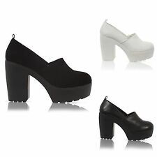LADIES WOMENS CLEATED SOLE PLATFORM  CHUNKY BLOCK HEEL COURT SHOES SIZE 3-8