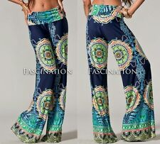 Plus Size Fold Over Navy Blue Hippie Tribal Palazzo Yoga Tall Pants XL1X 2X 3X