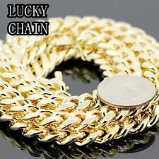 """30""""36""""14K GOLD PLATED MIAMI CUBAN LINK CHAIN NECKLACE 10mm 180g 208g A29"""