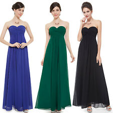 Woem's Strapless Long Chiffon Bridesmaid Evening Formal Party Prom Dress 08084
