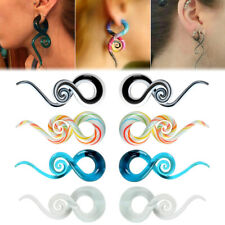 1Pair Glass Ear Stretcher Tunnel Spiral Hanger Taper Plug Body Piercing 5-12mm