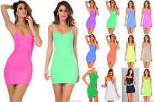 Lot Women Camisole Stretch Club Spaghetti Strap Long Tank Mini Dress OS M L XL