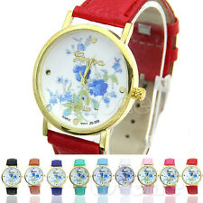 Fashion Smashing Quartz Watches  Faux Leather Geneva Rose Flower Watch Dress