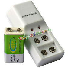 1x 9V BTY Green 300mAh Ni-Mh Rechargeable Battery + Dual Batteries Charger
