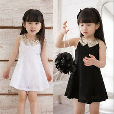 Lovely Baby Kids Sequins Collar Flower Sleeveless Vest Lace Girl Princess Dress