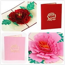 3d pop up Greeting Card in Multi-Color Love & Romantic Fairy Tales 13*16cm Peony