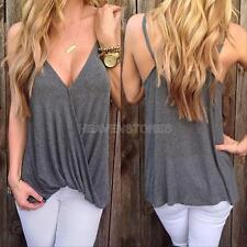 Sexy Women Lady Summer Casual Sleeveless Shirt Cotton Loose Vest Tank Top Blouse