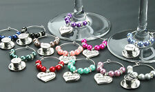 Personalised Wedding Table Decorations Champagne  Wine Glass Charms Favours DIY
