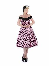 Vintage 1950s Pin Up Style Pink Polka Dot Off Shoulder Rockabilly Dress New 8-18