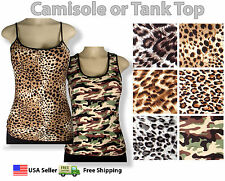 ANIMAL PRINT LEOPARD CAMOUFLAGE Spaghetti Strap Camisole Cami Tank Top Layering