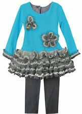 NWT Isobella & Chloe Sophia Teal Blue and Grey 2 piece Tunic Tulle Set