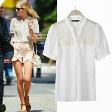 Short Sleeve V Neck Womens Lady Lace Blouse Shirt Tops Casual Fashionable New