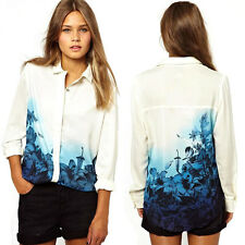 Fashion Women Blouse Casual loose Top Long Sleeve OL Flower Print Chiffon Shirt