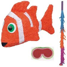 Clown Fish Ocean Party Pinata with pinata Stick and Blindfold