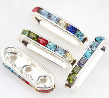 Three Hole Silver Plated Crystal Rhinestone Rondelle Spacer Beads Charm Finding