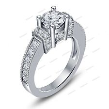 2.38 Carat Round Simulated Diamond Women's Engagement Ring 14K White Gold Finish