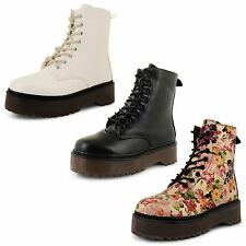 Womens Ladies Dolcis Vintage Retro Chunky Flat Lace Up Punk Combat Ankle Boots
