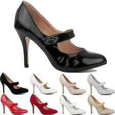 NEW WOMENS LADIES MID PARTY PROM HIGH HEELS STILETTO COURT SHOES PUMPS SIZE 3-8