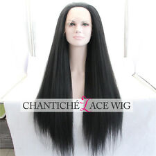 Heat Resistant Kinky Straight Synthetic Hair Lace Front Wigs For Black Women