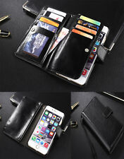 """Black Genuine Leather Wallet pouch case cover for APPLE IPhone 6 4.7 5.5"""""""