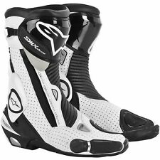 ALPINESTARS SMX Plus Vented Motorcycle Boots (Black/White) Choose Size