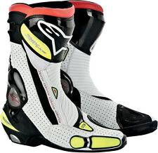 ALPINESTARS SMX Plus Vented Motorcycle Boots (Black/White/Yellow) Choose Size