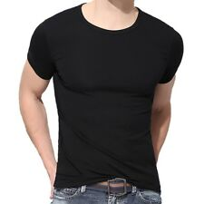 Men Fit Shirt Short Sleeve Solid Color Casual T-shirt Tee Tops S-3XL