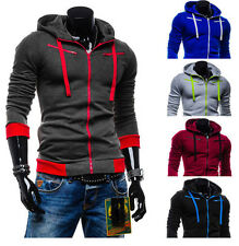 New Mens Stylish Hoodies Slim Fit Sweater Casual Zip Hooded Fleece Jacket Coat